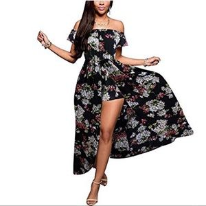 Black Floral Off Shoulder Maxi Skirt Romper Small